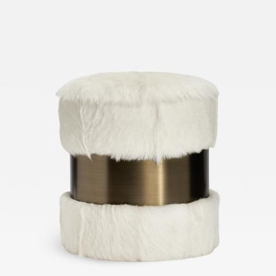 Interlude Home Scarlett Stool Ivory Goat Bronze