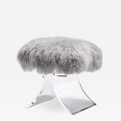 Interlude Home Serena Stool Grey Sheepskin