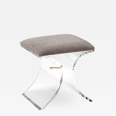 Interlude Home Serena Stool Grey Velvet