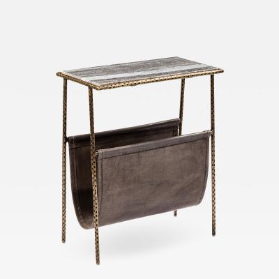 Interlude Home Strauss Magazine Table Grey Brass