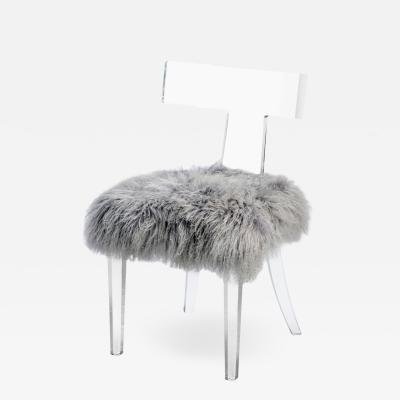 Interlude Home Tristan Klismos Chair Grey Sheepskin