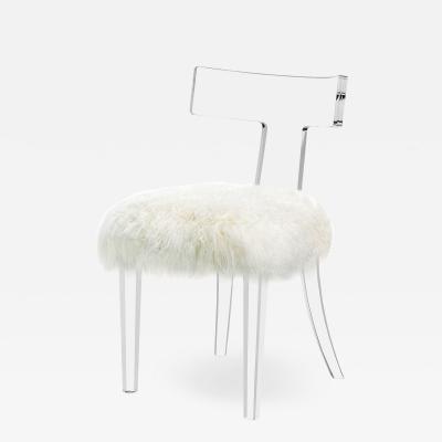 Interlude Home Tristan Klismos Chair Ivory Sheepskin