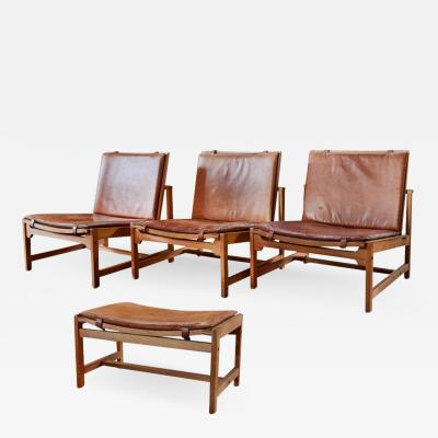 Interna Set of 3 Arne Karlsen Peter Hjort Leather Wicker Lounge Chairs with Ottoman