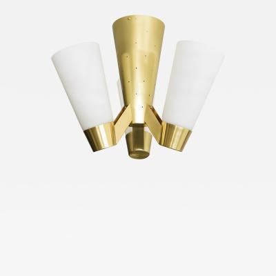 Itsu ITSU FINNISH MID CENTURY AA71 4 FLUSH MOUNT FIXTURE IN BRASS