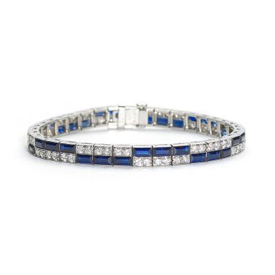 J E Caldwell Co Caldwell Art Deco Sapphire Diamond Platinum Bracelet