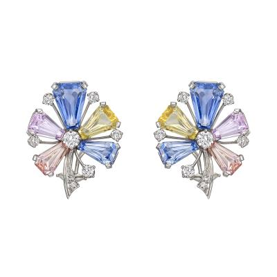 J E Caldwell Co J E Caldwell Multicolored Sapphire Diamond Flower Earclips
