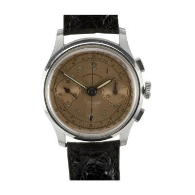 J E Caldwell Co Jewelry Caldwell Silver J E Caldwell Copper Dial Chronograph Wrist Watch