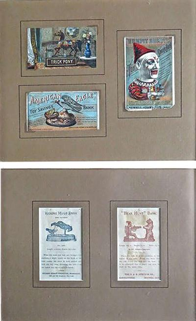 J E Stevens Co Five Mechanical Bank Trade Cards in Frame circa 1880s