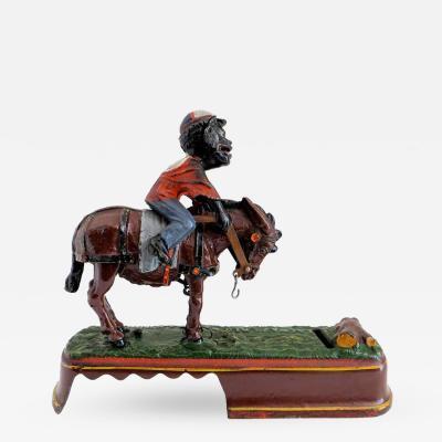 J E Stevens Company Mechanical Bank I Always Did Spise a Mule Jockey Over Variation Near Mint