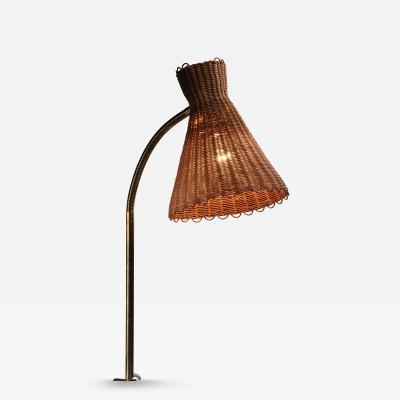 J T Kalmar Kalmar Lighting Kalmar clamp on brass and wicker desk lamp