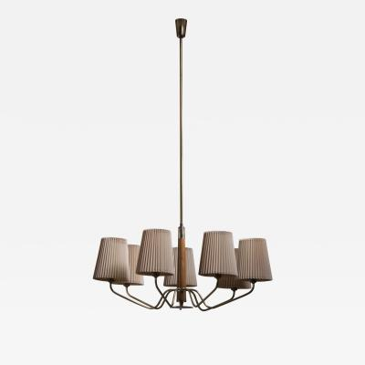 J T Kalmar Kalmar Lighting Modernist wood and brass chandelier with 7 arms