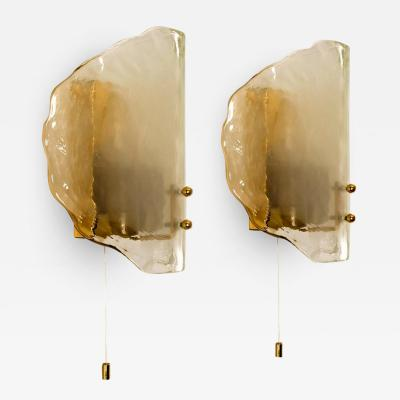 J T Kalmar Kalmar Lighting Pair of Brass and Glass Hand Blown Murano Glass Wall Lights by J T Kalmar 1960s