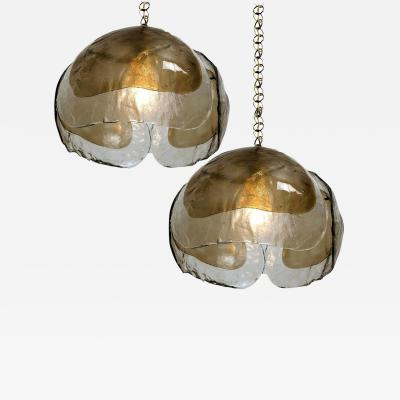J T Kalmar Kalmar Lighting Pair of Kalmar Chandelier Pendant Lights Smoked Glass and Brass 1970s
