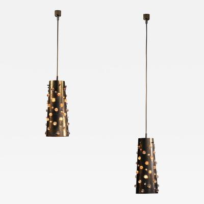 J T Kalmar Kalmar Lighting Pair of Kalmar copper and crystal pendants