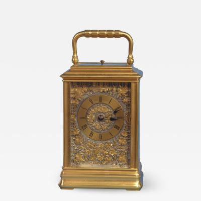 J W Benson London French Gilt Bronze Cannalee Cased Carriage Clock with Decorative Metal Panels