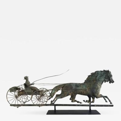 J W Fiske Company MOLDED COPPER FOUR WHEEL WAGON TEAM WEATHERVANE