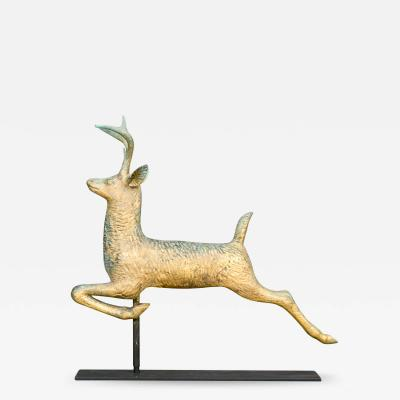 J W Fiske Company RARE DIMINUTIVE SIZE LEAPING STAG WEATHERVANE