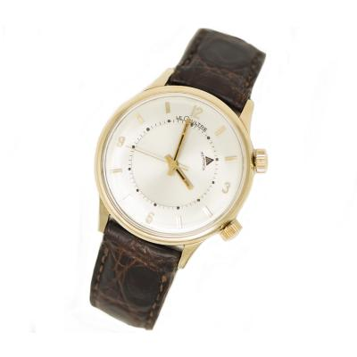 Jaeger LeCoultre 1950s Jaeger Le Coultre Memovox Yellow Gold Filled Alarm Wristwatch