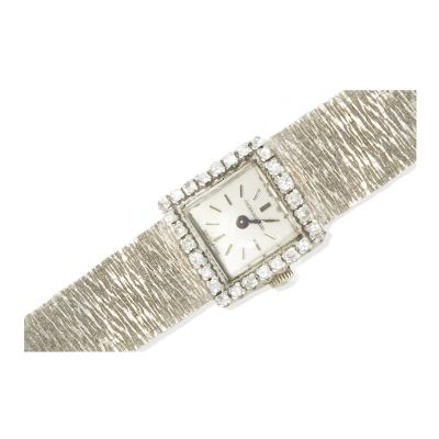 Jaeger LeCoultre 1960s Jaeger Le Coultre 18kt White Gold Diamond Set Textured Bracelet Watch