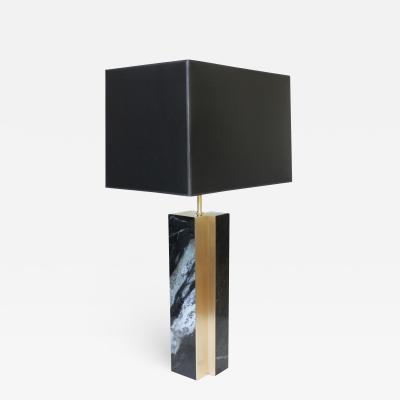 James Devlin Studio Black Marble and Bronze Fluted Table Lamp