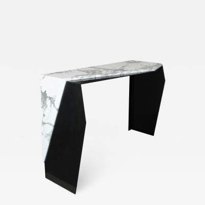 James Devlin Studio Chevron Console Table in Marble and Blackened Steel