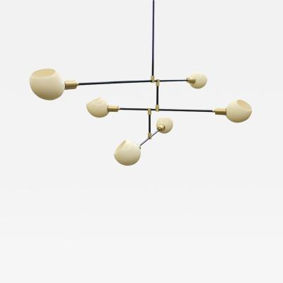 James Devlin Studio Sculptural chandelier by James Devlin steel brass ostrich egg diffusers