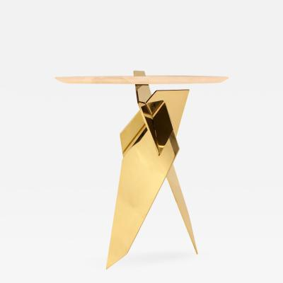 James Devlin Studio Shard Table Brass and Calacatta marble