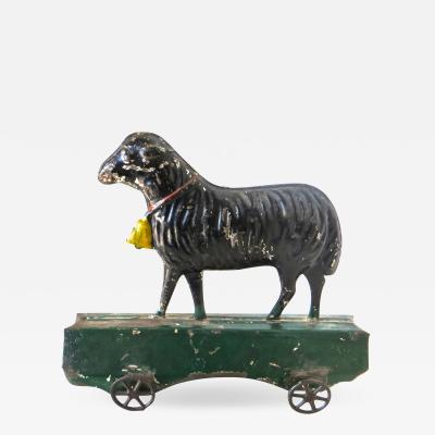 James Fallows American Tin Lamb on Platform Floor Toy by Fallows Circa 1880s