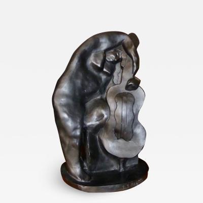 Jan Joel Martel Jan Joel Martel Art Deco Cubist Woman with Cello in Terra cotta