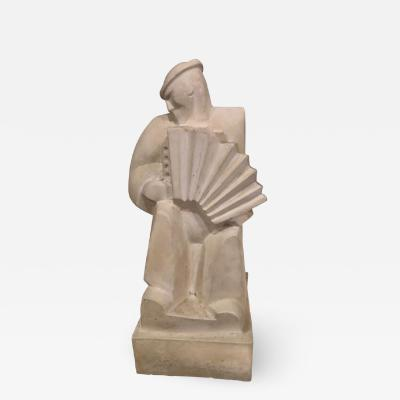 Jan Joel Martel Jan and Joel Martel LAccordioniste The Accordion Player Sculpture Art Deco