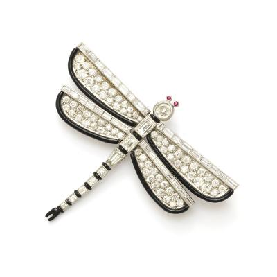 Janesich Art Deco Diamond and Enamel Dragonfly Brooch by Janesich