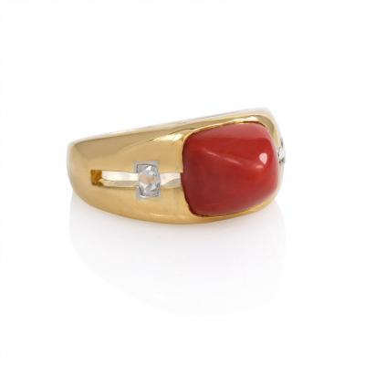Janesich Retro Gold Coral and Diamond Ring Janesich