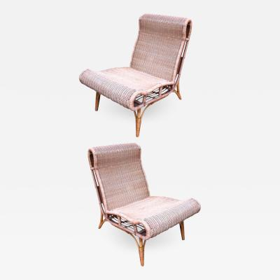 Janine Abraham Dirk Jan Rol Abraham and Rol Rarest Documented Pair of Rattan Slipper Chairs