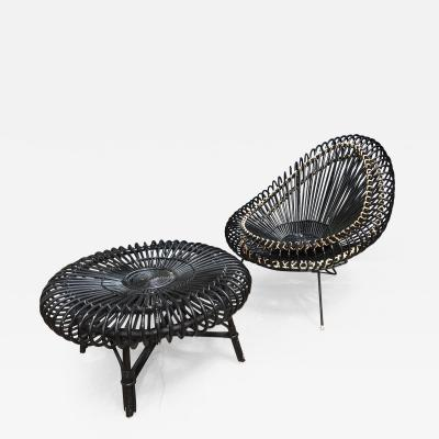 Janine Abraham Dirk Jan Rol J Abraham and Dirk Jan Rol Lounge Chair b with Coffee Table in Rattan 1950s