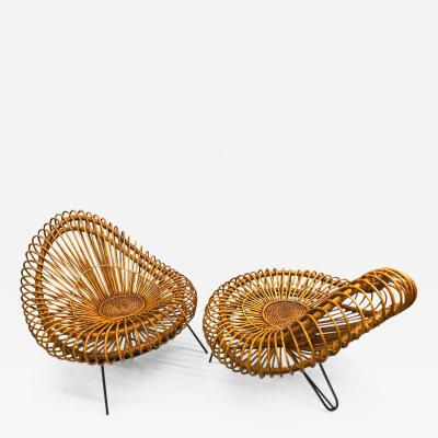 Janine Abraham Dirk Jan Rol Pair of French Midcentury Rattan Lounge Chairs by Janine Abraham Dirk Jan Rol