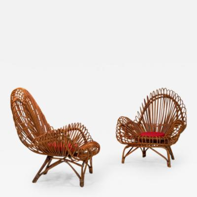 Janine Abraham Dirk Jan Rol Pair of wicker lounge chairs attributed to Janine Abraham