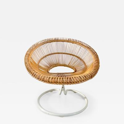 Janine Abraham Dirk Jan Rol Rattan Swivel Chair attributed to Janine Abraham Dirk Jan Rol France ca 1960