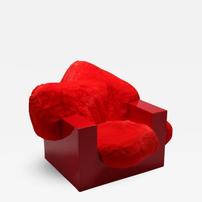 Janne Schimmel Moreno Schweikle Pillow Lounge Chair in Red Lacquer and Faux Fur by Schimmel Schweikle 2019