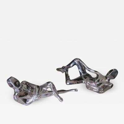 Jaru Spectacular Pair Silver Jaru Cubist Modern Nude Ceramic Sculptures Male Female