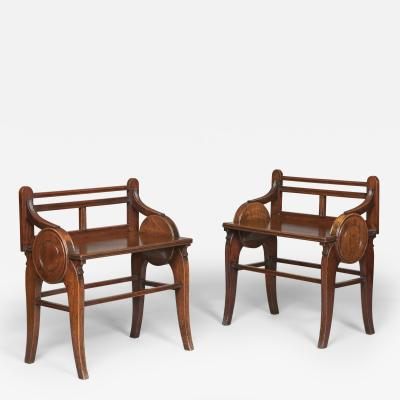 Jas Shoolbred Co Pair of Antique Walnut Hall Seats Benches