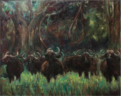 Jeanne Thiais Loubris Jeanne Thiais Loubris Art Deco African Buffalos 1938