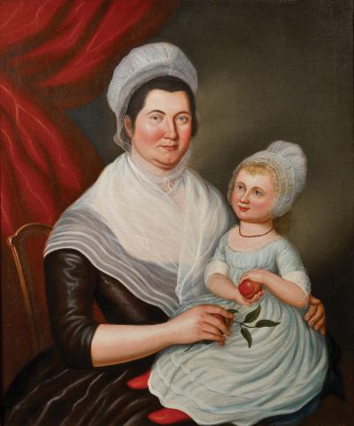 Jeffrey Tillou Antiques Charles Peale Polk Portrait of Mrs Jacob Ten Broeck and Daughter