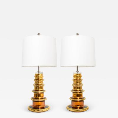 Johansfors Glasbruk JOHANSFORS PAIR OF GOLD MERCURY GLASS LAMPS SWEDEN 1960