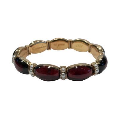 John Brogden John Brogden Gold Carbuncle and Pearl Bracelet C 1855