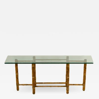 John Elinor McGuire A Mid Century bamboo six leg console table by McGuire with thick glass top