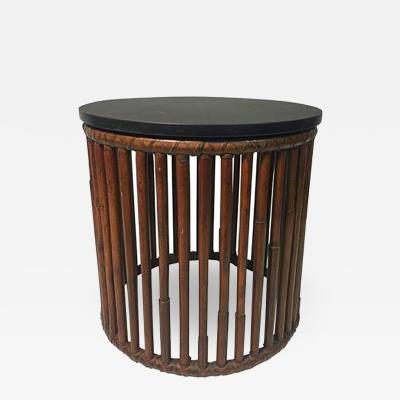 John Elinor McGuire Beautiful Bamboo Drum Table with Granite Top by McGuire