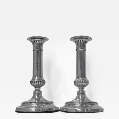 John Roberts Co Georgian Sterling Silver Candlesticks 1805 John Roberts Co