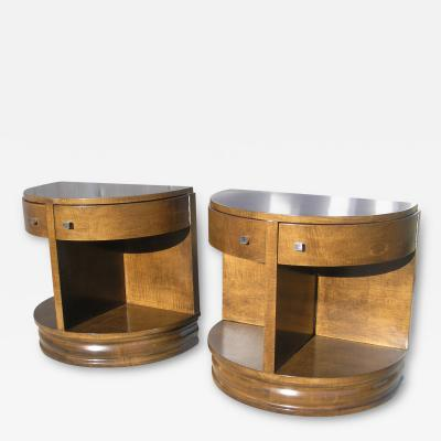 John Widdicomb Co Pair of American Art Deco Demilune Nightstands by Widdicomb