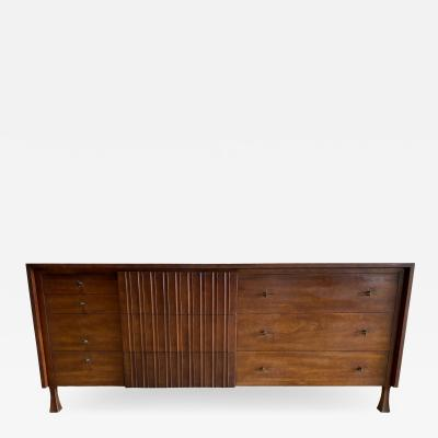 John Widdicomb Co Widdicomb Furniture Co American Modern Walnut and Bronze Dresser John Widdecomb