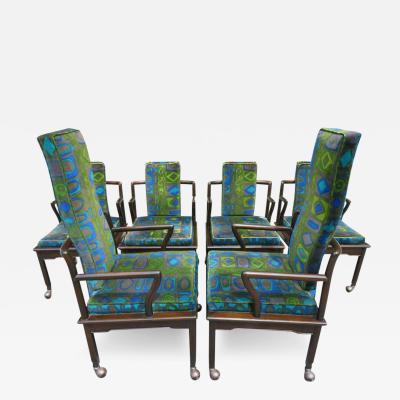 John Widdicomb Co Widdicomb Furniture Co Fabulous Asian Modern Widdicomb Dining Chairs Jack Lenor Larsen Blue Velvet